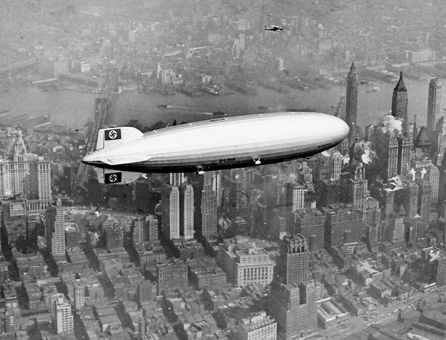 The <em>Hindenburg</em> flying over New York on its final voyage in 1937.