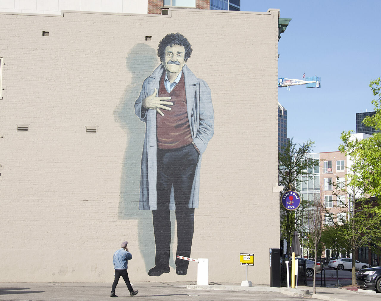 The Kurt Vonnegut mural in downtown Indianapolis.