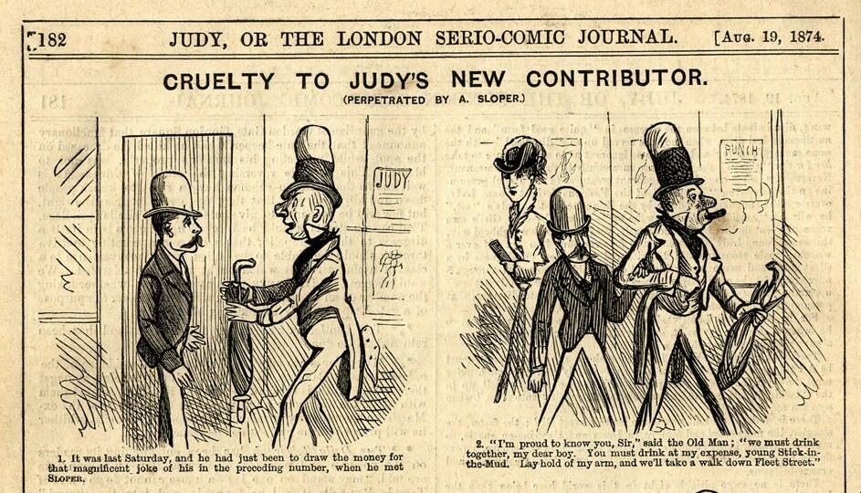 "The illustrator behind this strip of Ally Sloper, ""Cruelty To Judy's New Contributor,"" has been forgotten for years."
