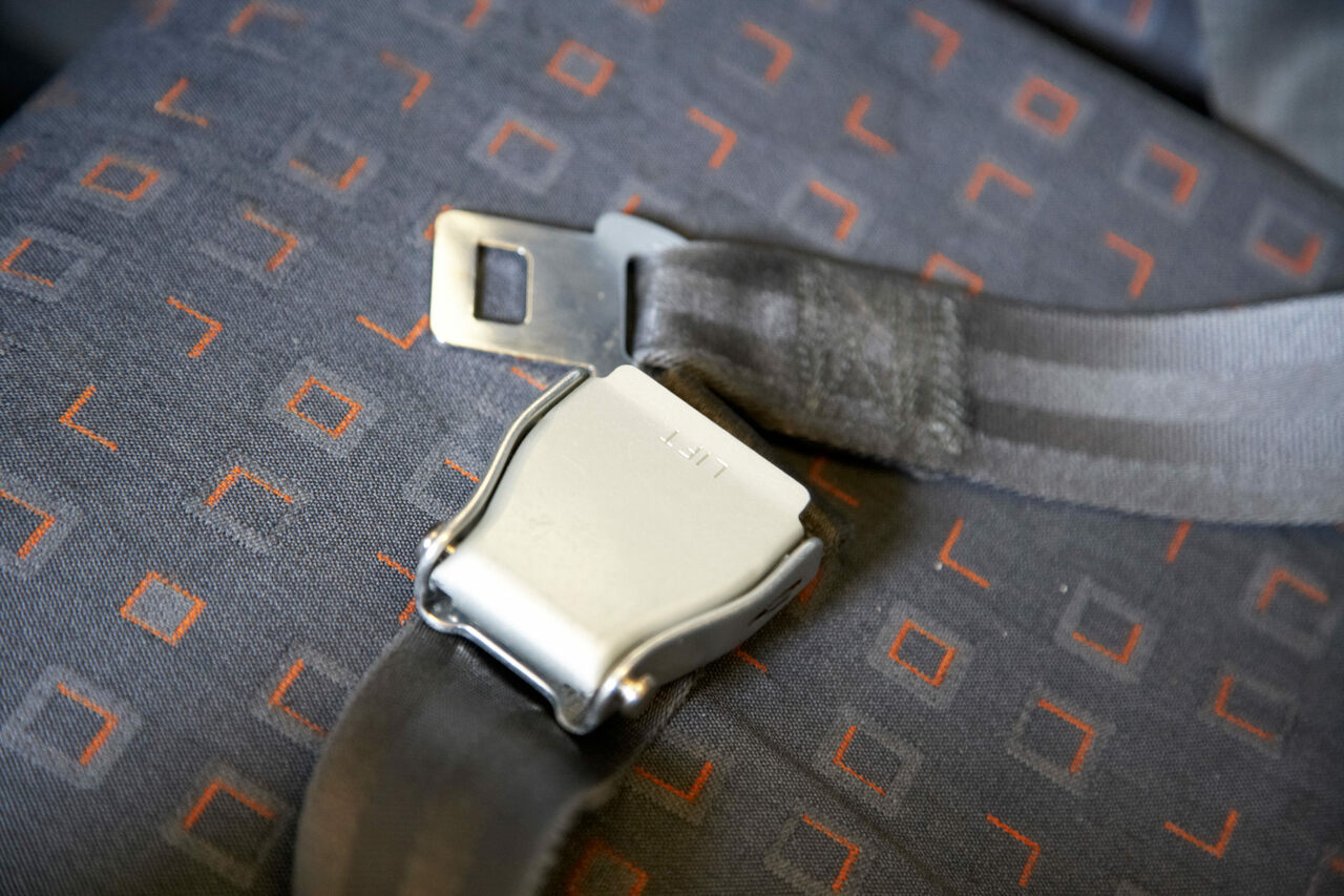 An airplane lap belt.