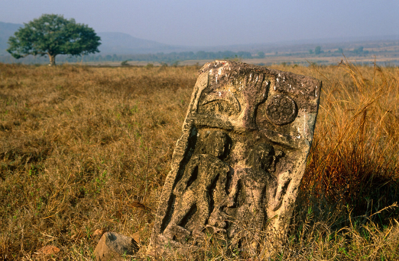 An old sati stone visible in Panna National Park in Madhya Pradesh.