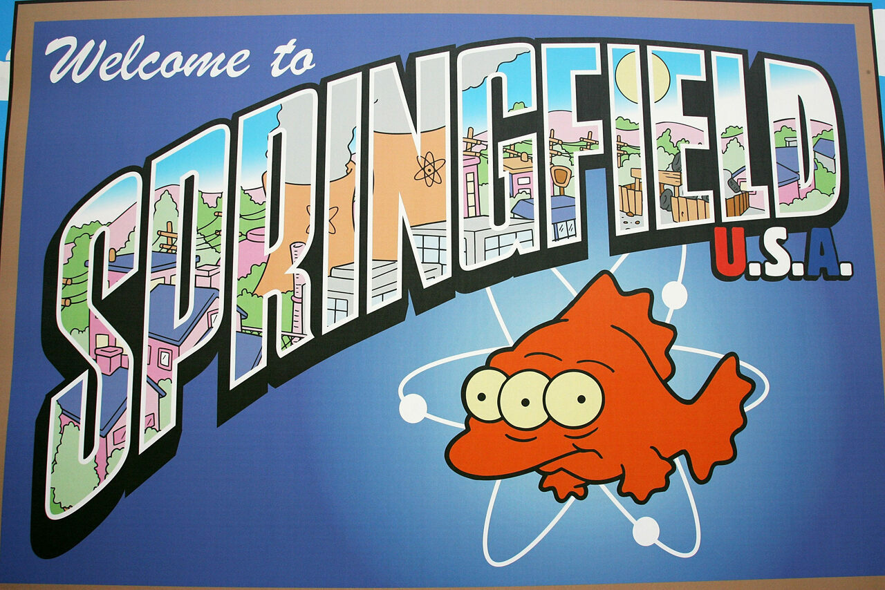 "The Springfield town sign is displayed at the UK premiere of ""The Simpsons Movie"" in 2007."