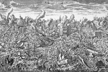 An engraving of the 1755 earthquake.