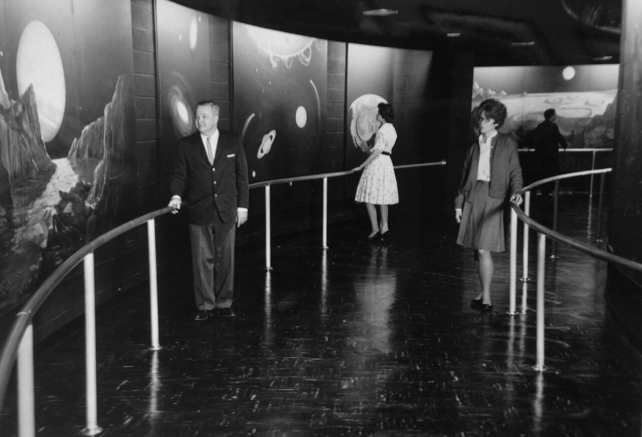 The Abrams Planetarium's black light gallery, pictured here in 1964, still excites.