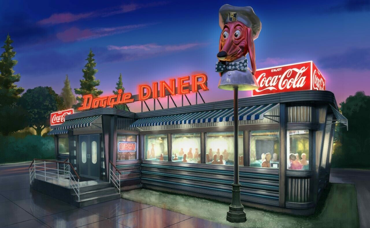 A design for the rebooted Doggie Diner that Atchley hopes to build.