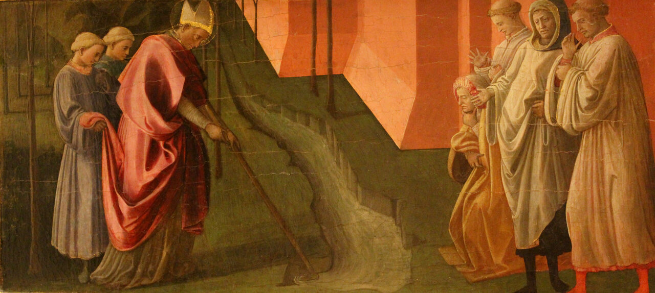 A 15th-century painting illustrates the miracle of San Frediano diverting the Serchio River in Tuscany in the sixth century, a local legend that endures in the region even today.