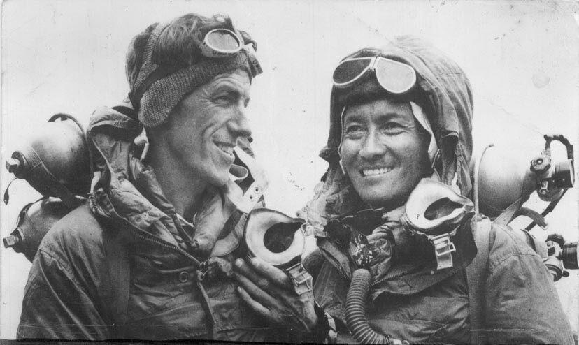 Tenzing Norgay in 1953 with fellow adventurer Edmund Hillary