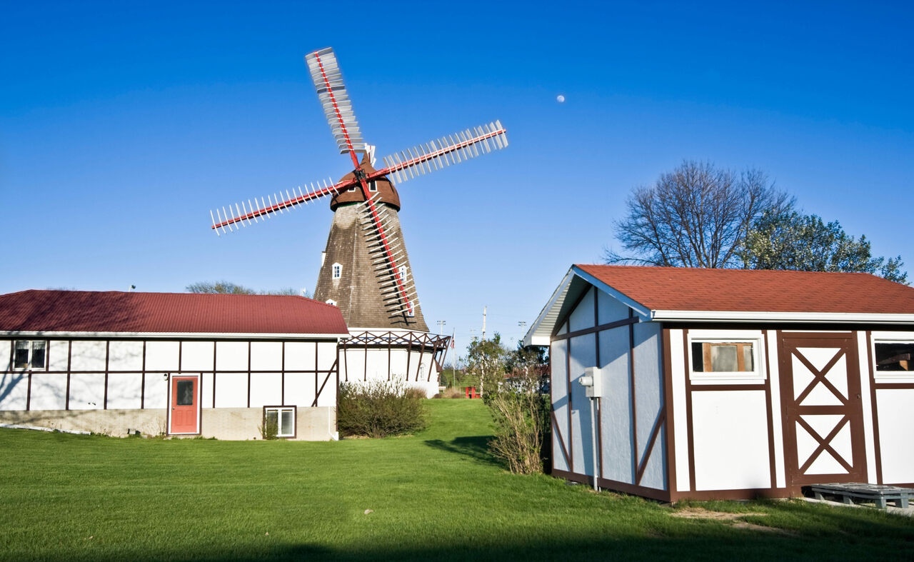 This windmill was shipped in pieces from Nørre Snede, Denmark, and reassembled in 1976 by over 300 volunteers.
