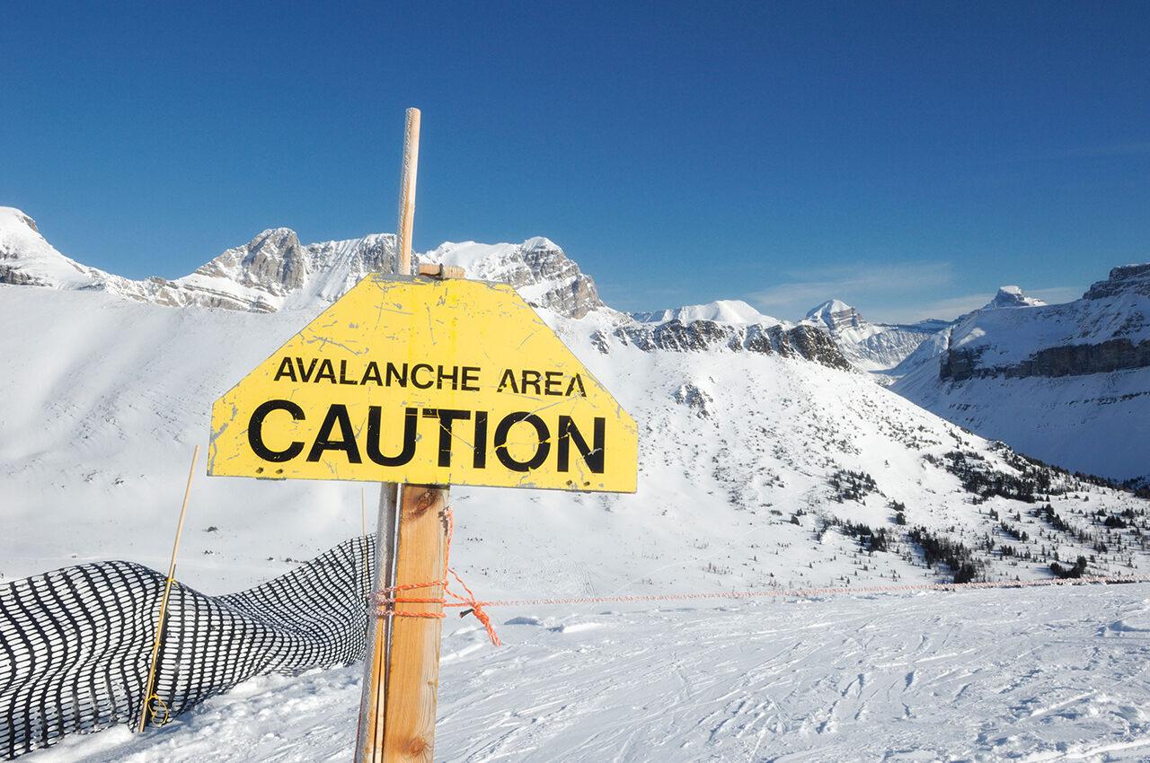 The avalanche-prone Banff National Park in Alberta, Canada.