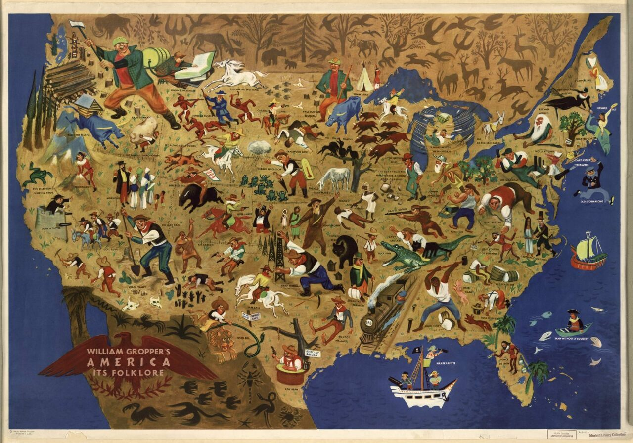 William Gropper's map of American folklore.