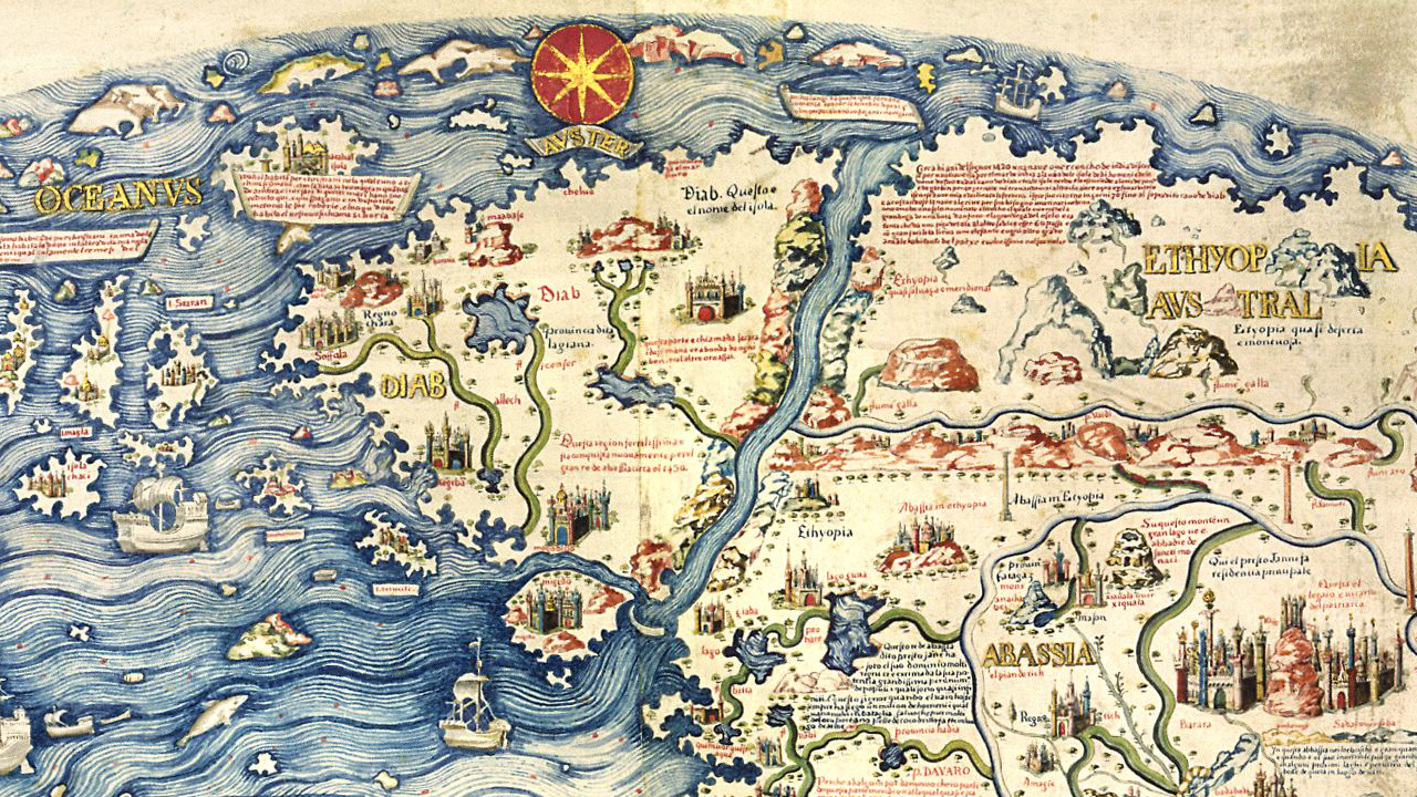 Detail from Fra Mauro's map, a work of unprecedented thoroughness and accuracy.