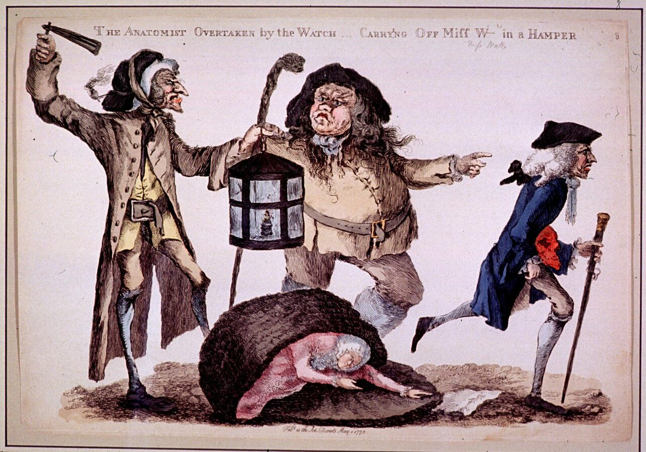 """The Anatomist overtaken by the Watch carry'ng off Miss W in a hamper."" William Austin, 1773."