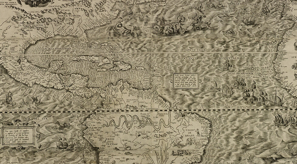Full Map Of America.In 1562 Map Makers Thought America Was Full Of Mermaids Giants And