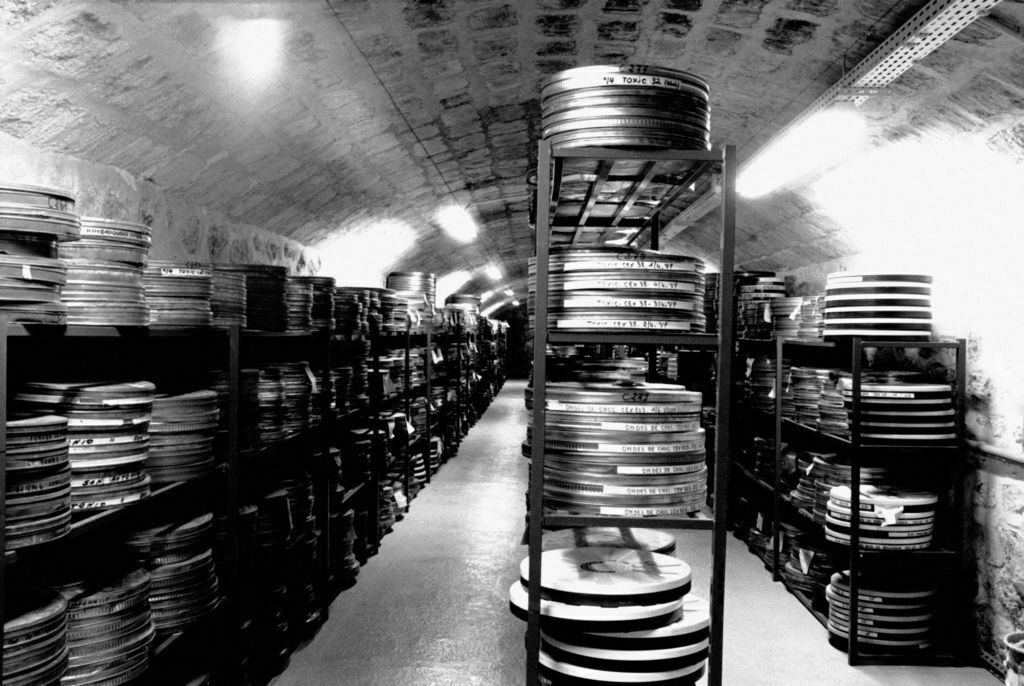 Reels of nitrate films from the Cinémathèque Française, stored in a fort in Yvelines, France.