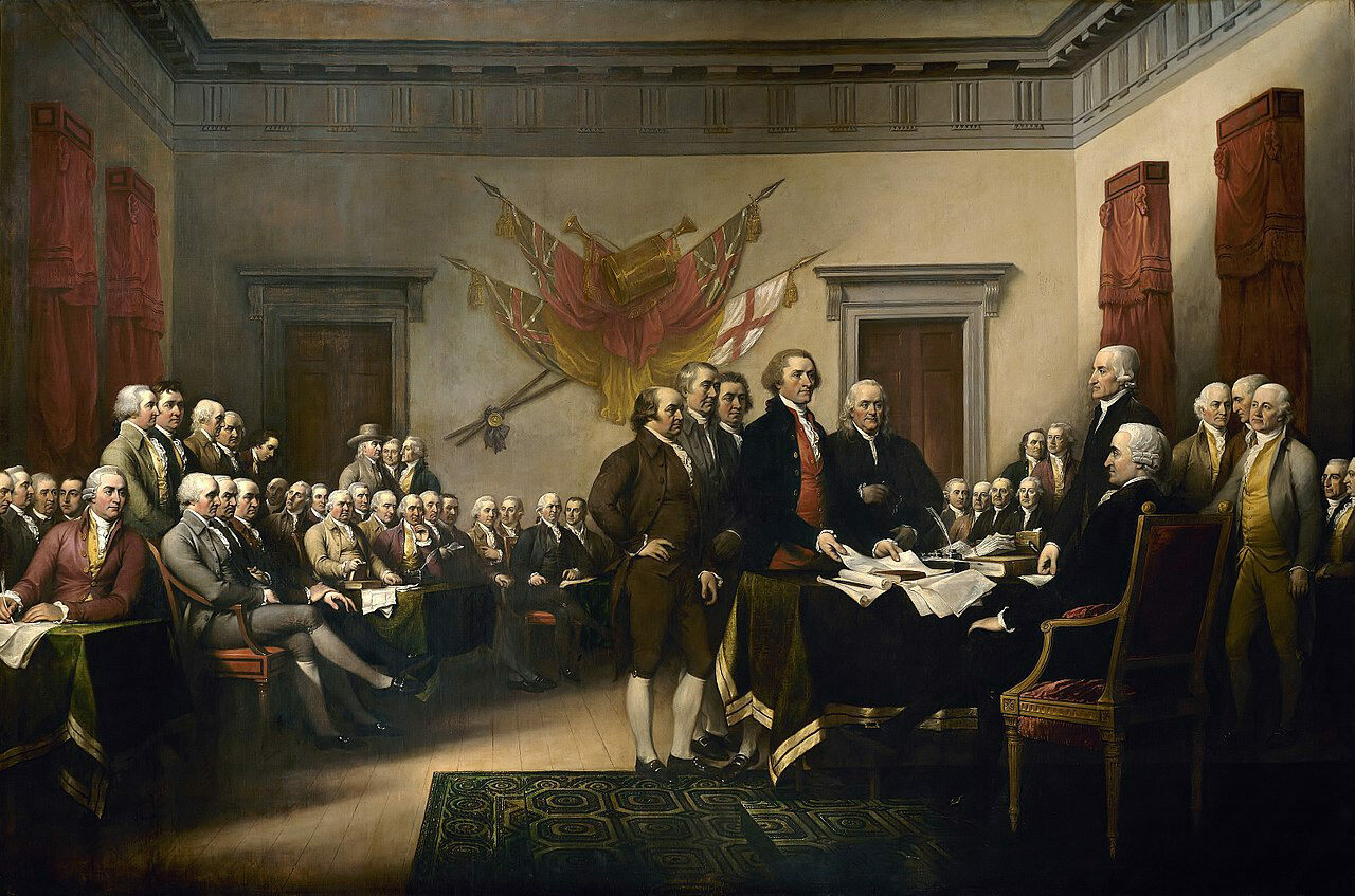 Congress gets its first gander at the Declaration of Independence in this painting by John Trumbull.