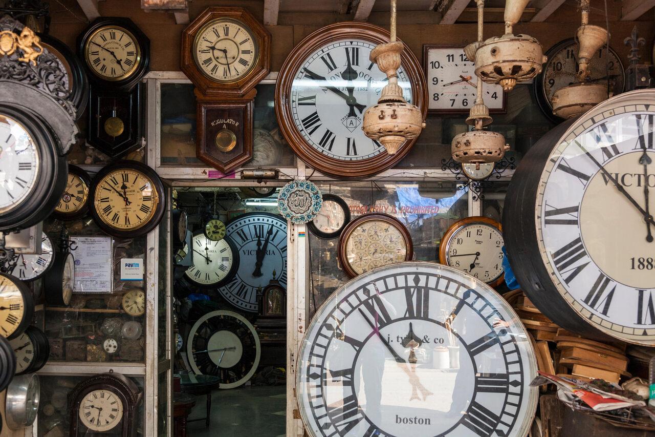 A clock shop in Chor Bazaar in Mumbai.
