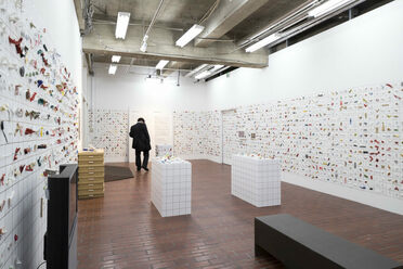 This photo, taken by Yasaka Marico, shows the scale of Tatsumi's collection.