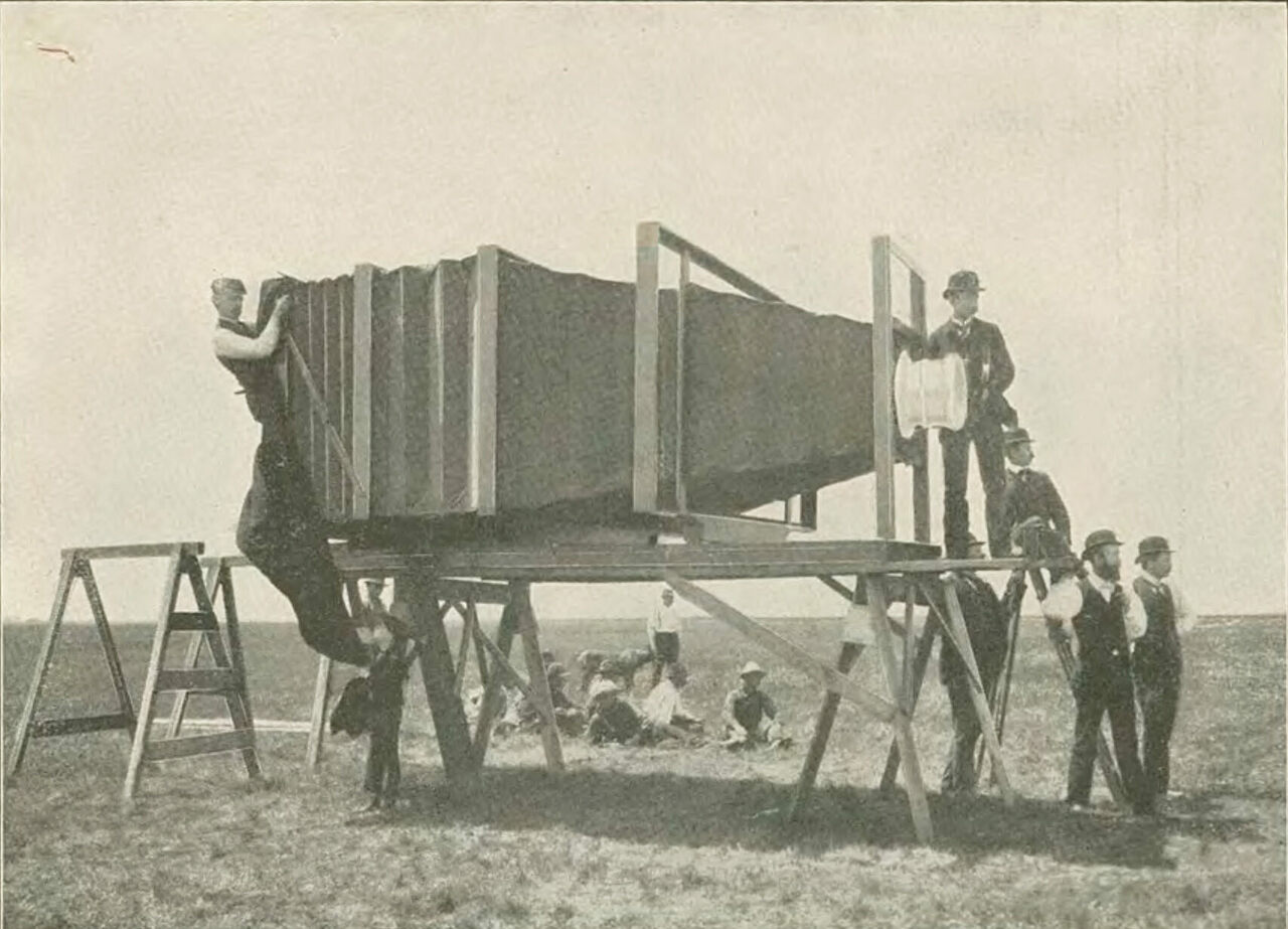 George R. Lawrence and his 1,400-pound camera.