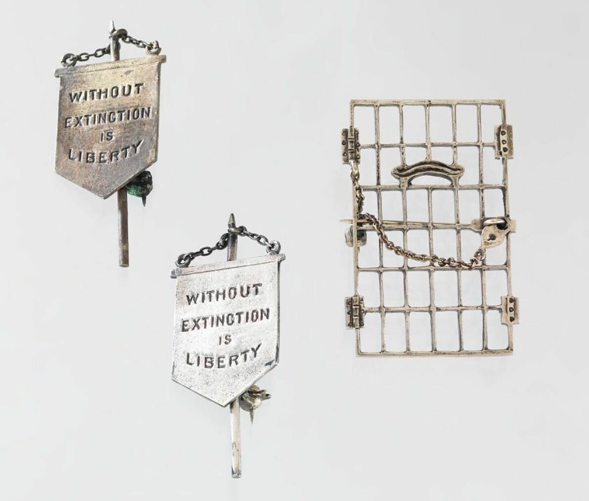 "Alice Paul's ""Jailed for Freedom"" and ""Silent Sentinel"" pins."