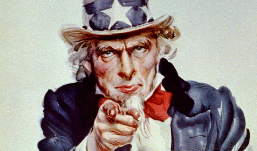 "Uncle Sam wants you - singular or plural, because in English there is no distinction in the pronoun ""you""."