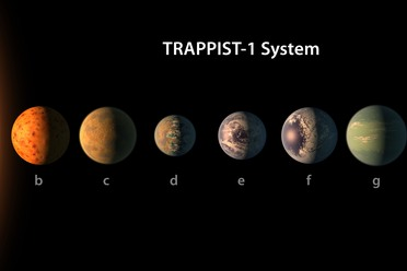 An artist's rendering of the Trappist-1 system. Planets d through f are in the star's habitable zone.
