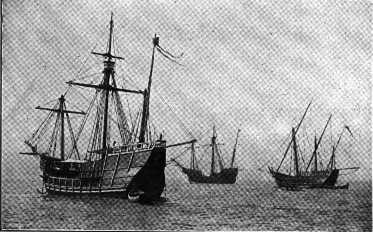 Replicas of the ship Columbus sailed across the ocean, photographed in New York in 1912.
