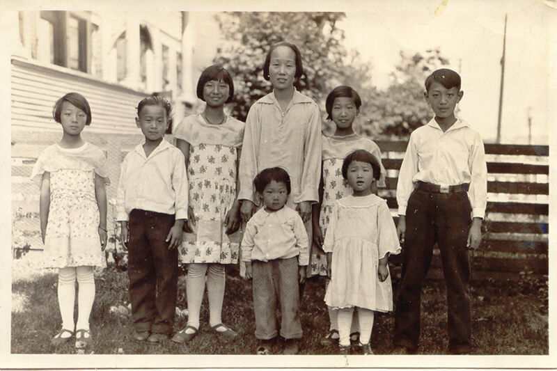 Imogene Lim's family: Grandmother Chan with seven of her eight children in Vancouver. Lim's mother, Lillian, is next to her mother, second from right. Mary is on the far left. Lillian and Mary fled Hong Kong during World War II.