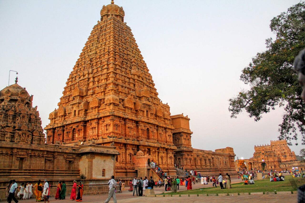 Brihadisvara Temple, sometimes called the Big Temple, is in South India and dates back to the 11th century.