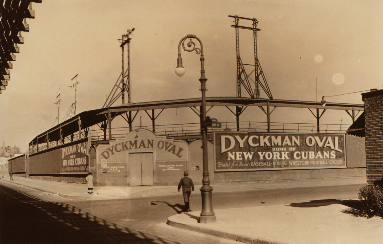 Dyckman Oval in 1937 as seen from the intersection of Nagle Avenue and Academy Street.