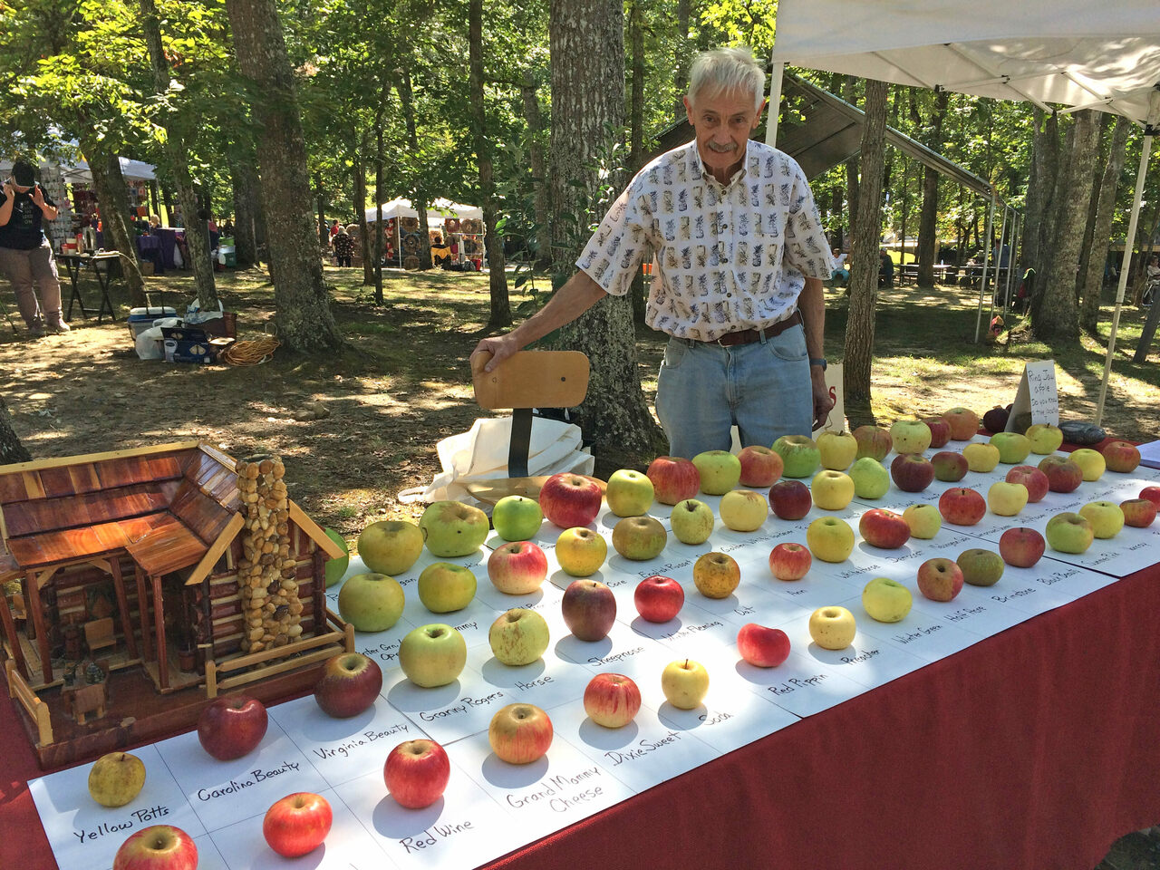 At farmers markets and other events, Brown displays a variety of apples to incite pomaceous conversations.