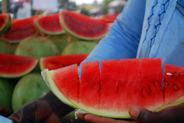 A watermelon vendor in Nigeria.
