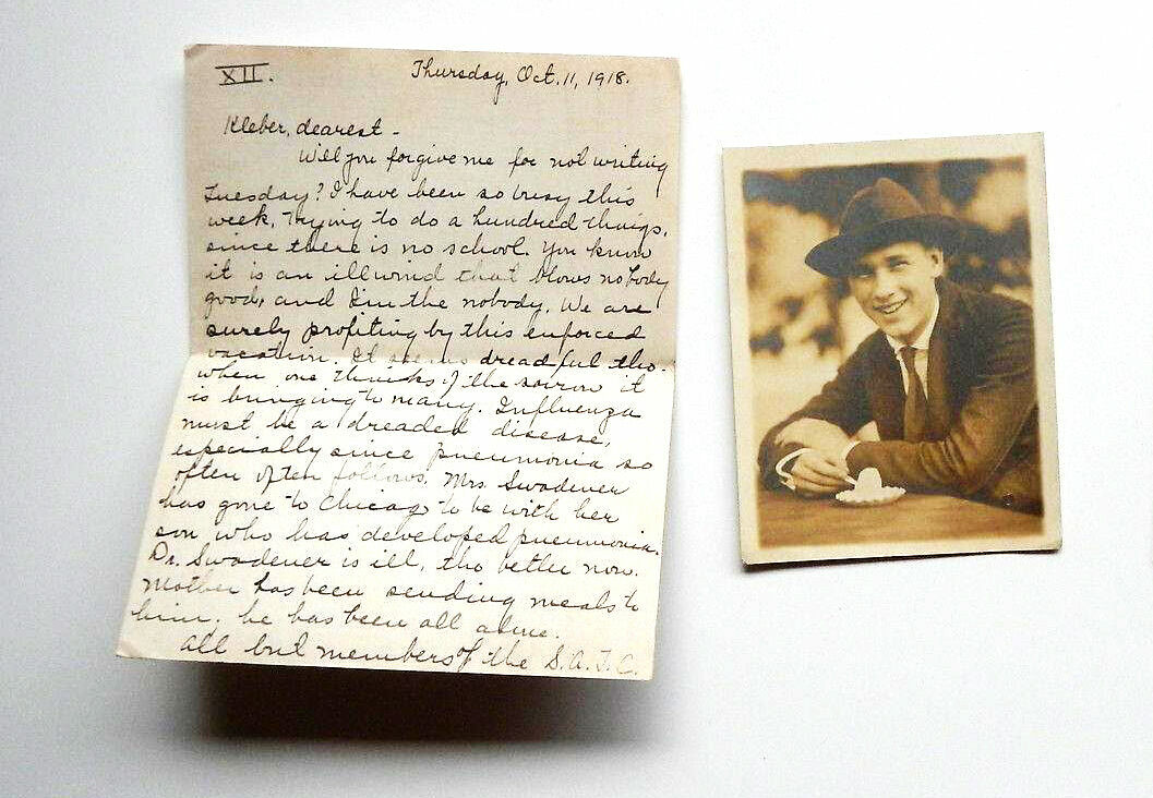 """The package may be small, but you will know it does not need to hold the love I send, for that cannot be confined,"" Hildreth Heiney wrote to her fiancé in 1918. The man in the photograph, identified as John, may be her brother."