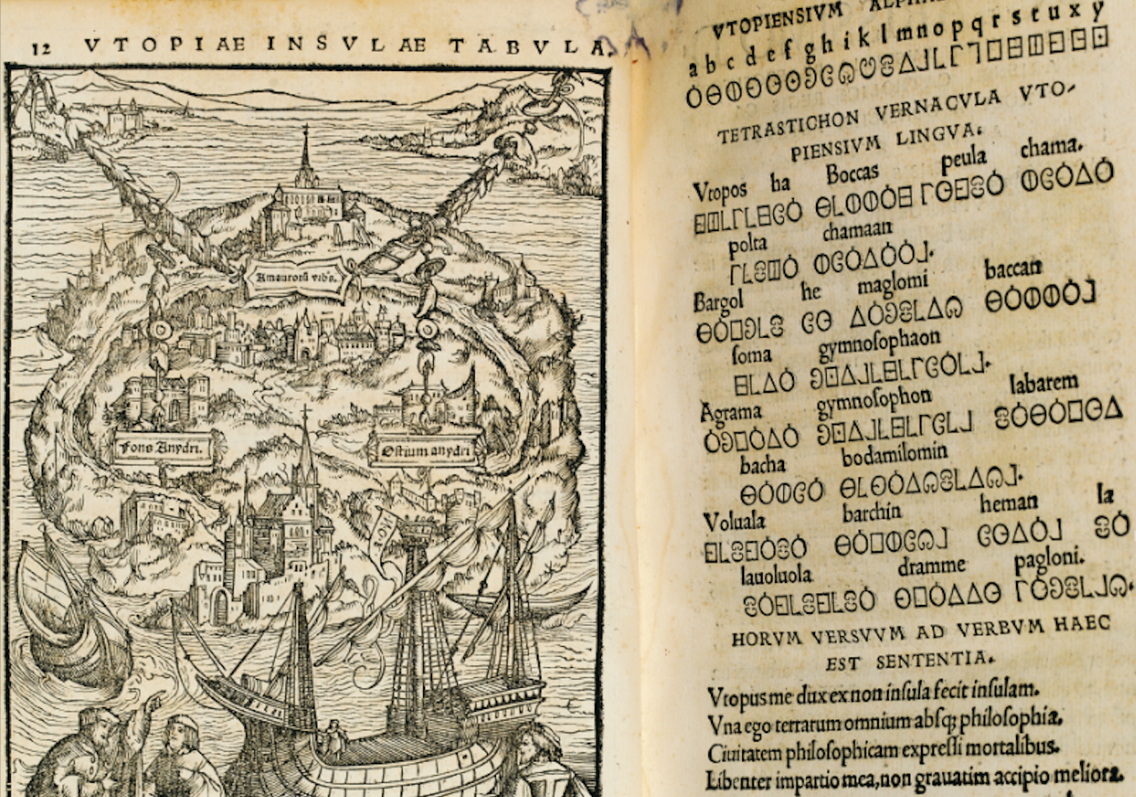 The inset map of Utopia, with the accompanying Utopian script (and Latin translation just below it).
