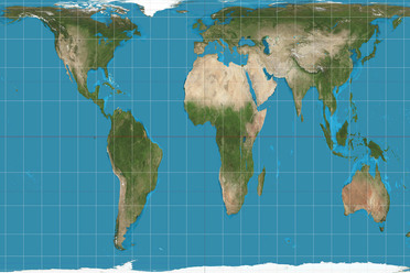 The Peters projection, featuring accurate sizes and stretched-out shapes.