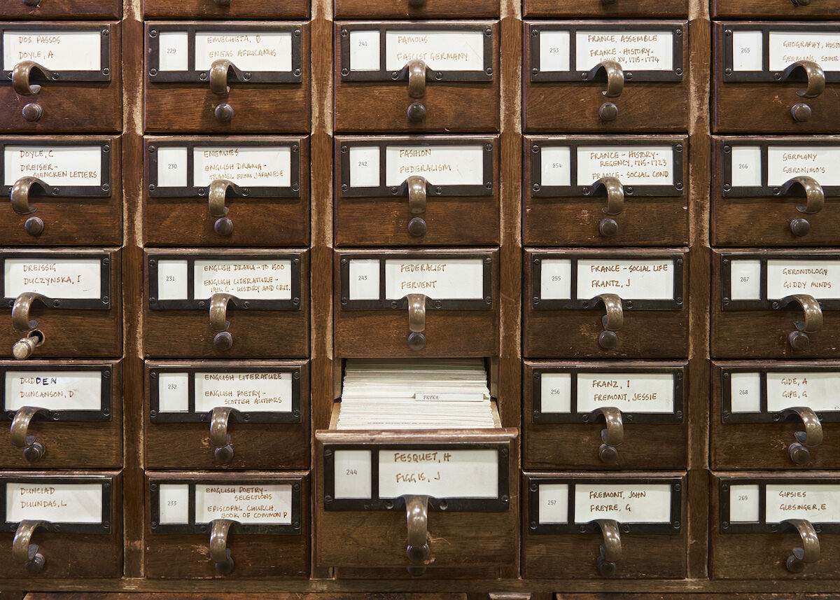The card catalog at the New York Society Library's Reference Room.
