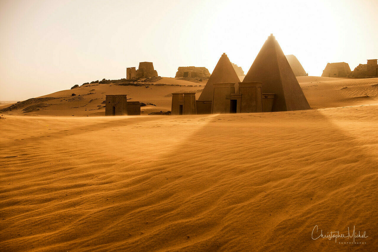 Sunset over the pyramids of Meroë.