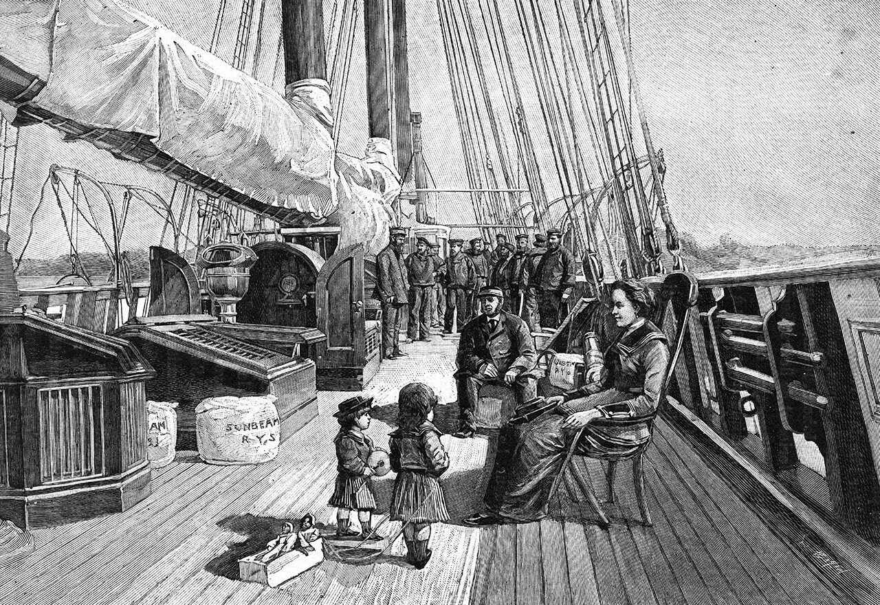 Annie Brassey on the deck of <em>Sunbeam</em>. She wrote a famed account of her time at sea.