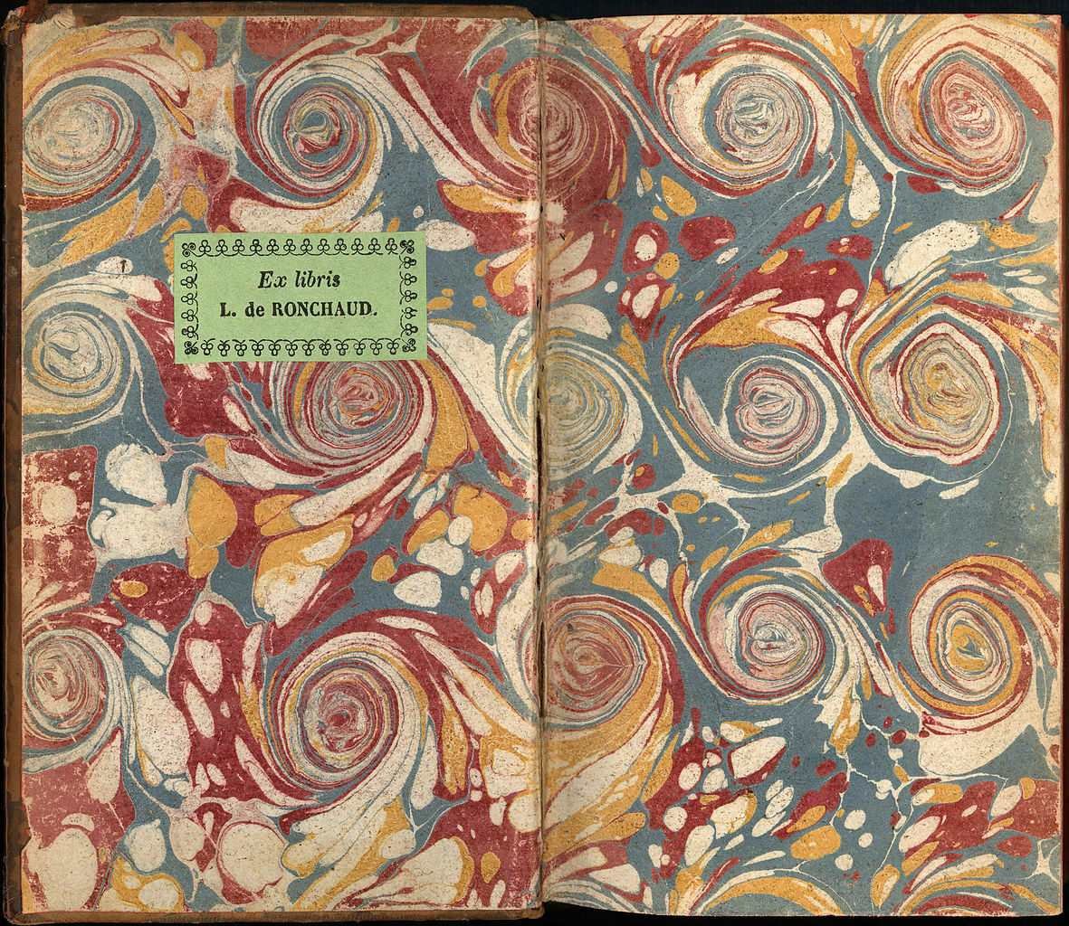 Endpapers of a 1735 book made in France.