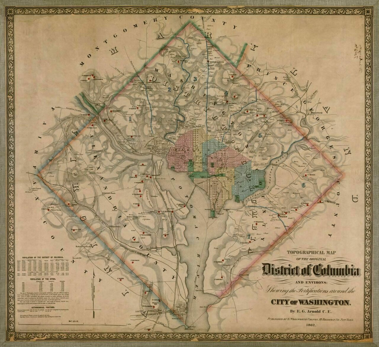 As shown in this 1862 map, published by G. Woolworth Colton, the District of Columbia was designed to be a perfect square, 10 miles on a side.