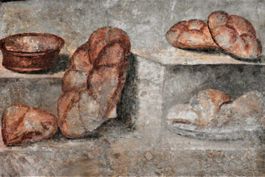 Some frescoes from Pompeii feature the <em>panis quadratus</em>. This one is now at the National Archaeological Museum of Naples.