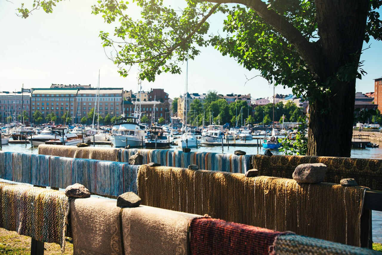 Carpets drying in the Helsinki sun.