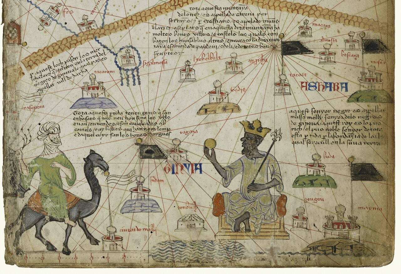 The Catalan Atlas, featuring a depiction of Mansa Musa.