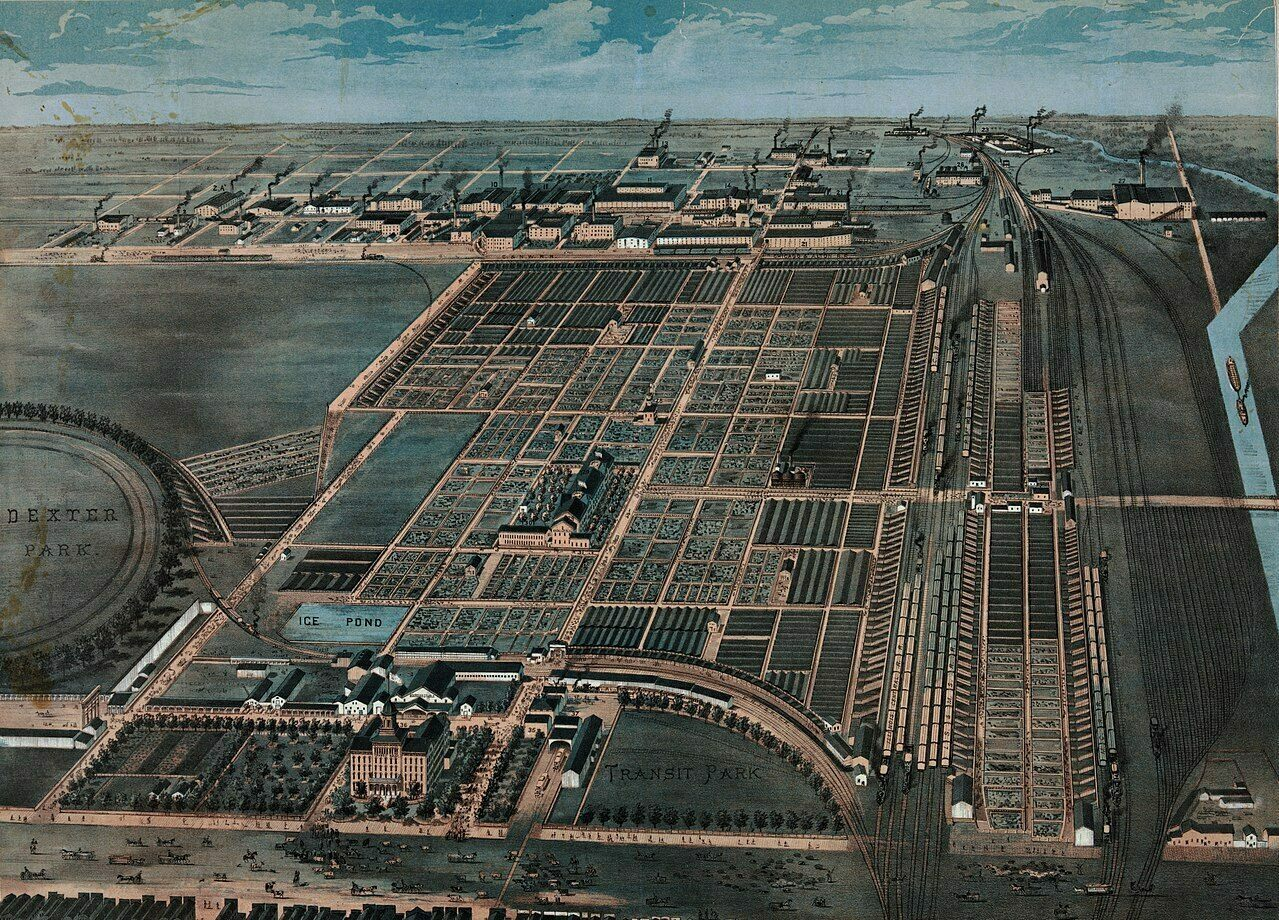 An 1870s illustration of the Union Stock Yards of Chicago, which was home to massive slaughterhouses and meatpacking operations.