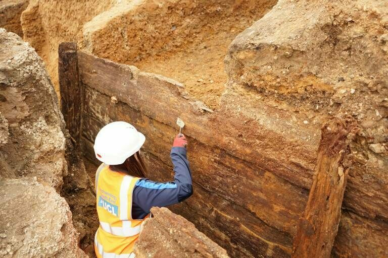 Archaeologists think the timber structure could be the remains of gallery seats.