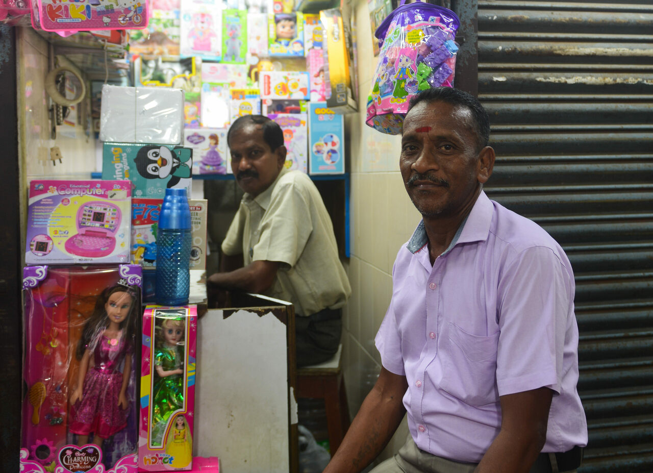 Ravi Pandian and Chandran (right), shopkeepers at Burma Bazaar.