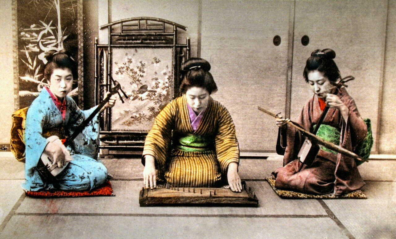Musicians perform sankyoku, traditional Japanese chamber music, in an undated photograph.