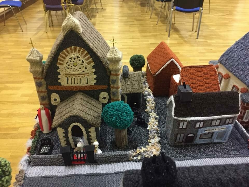 One of the village's five churches, made out of wool.