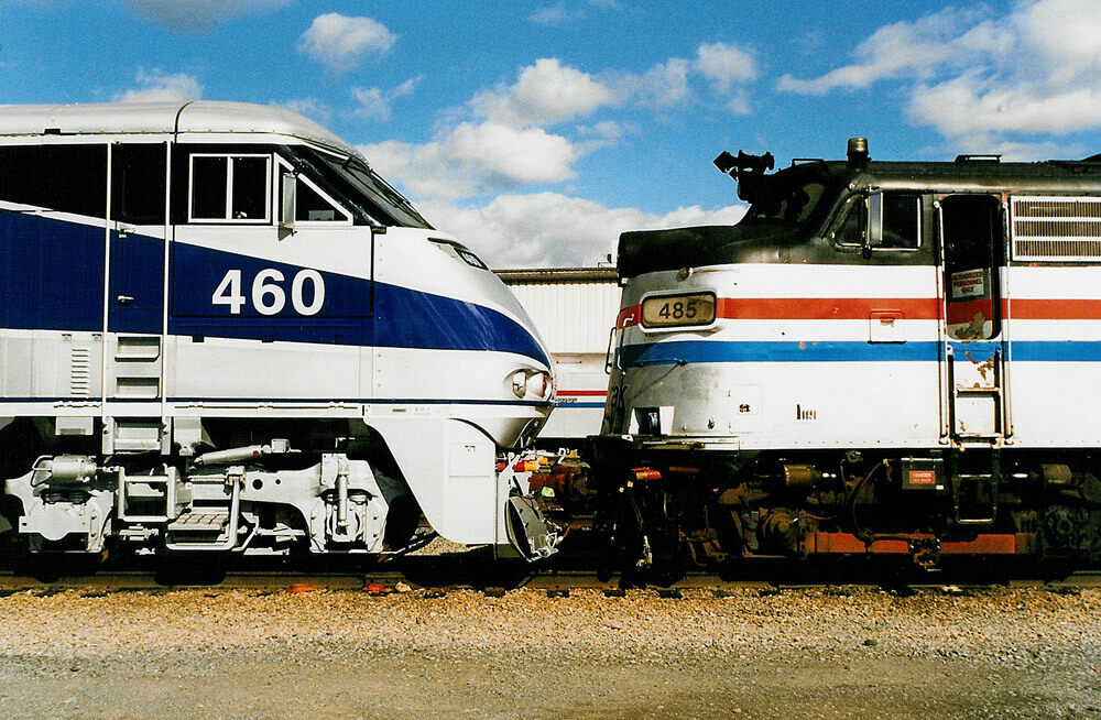 A newer model from 1998 meets an old diesel locomotive.