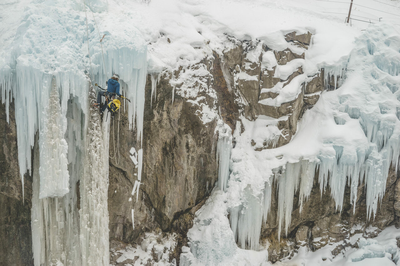 "Ice farmers' tasks include ""dagger mitigation""—hacking away at icicles that could hurt climbers."
