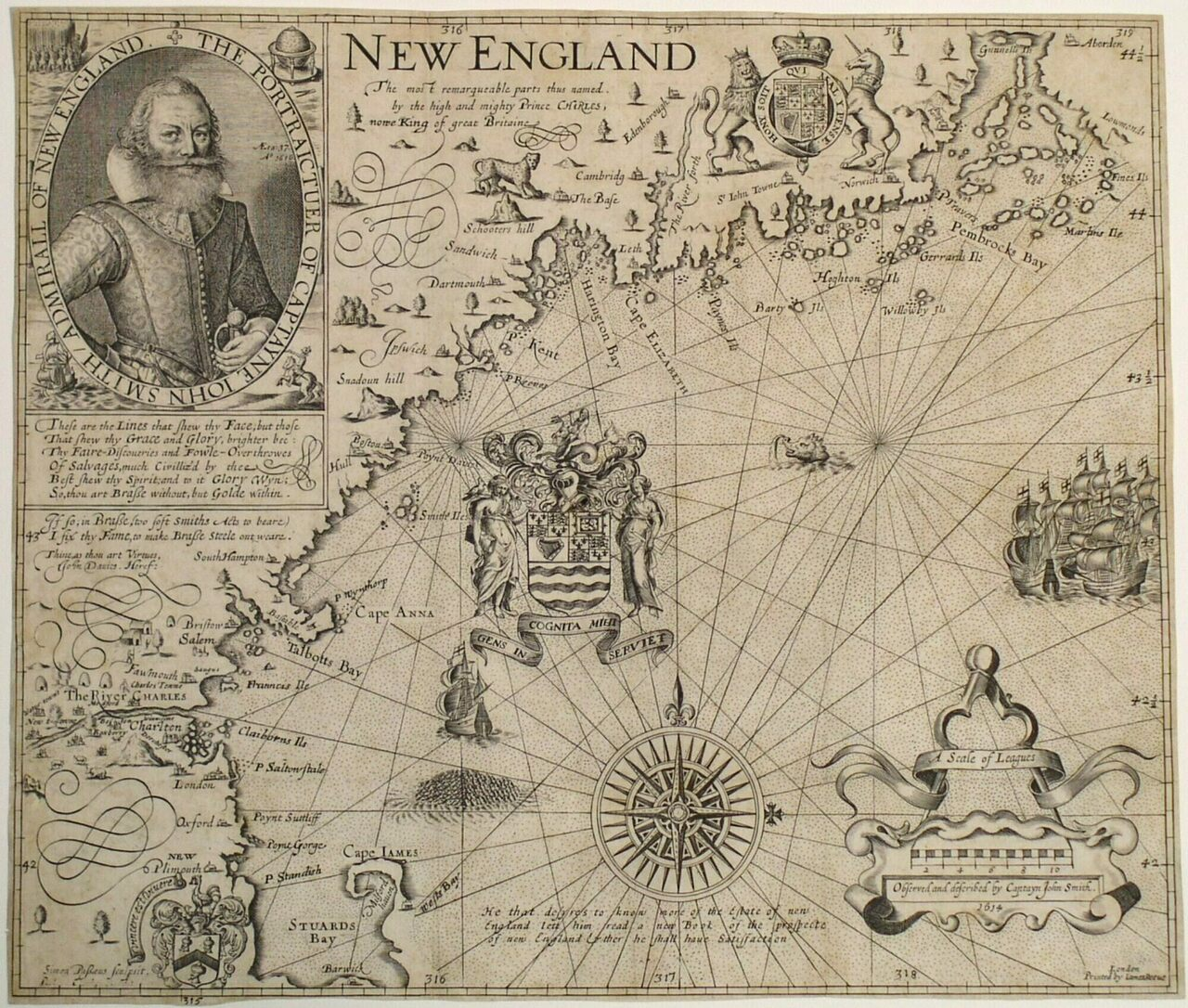 """New England, The most remarqueable parts thus named by the high and might Prince Charles, Prince of Great Britaine."""